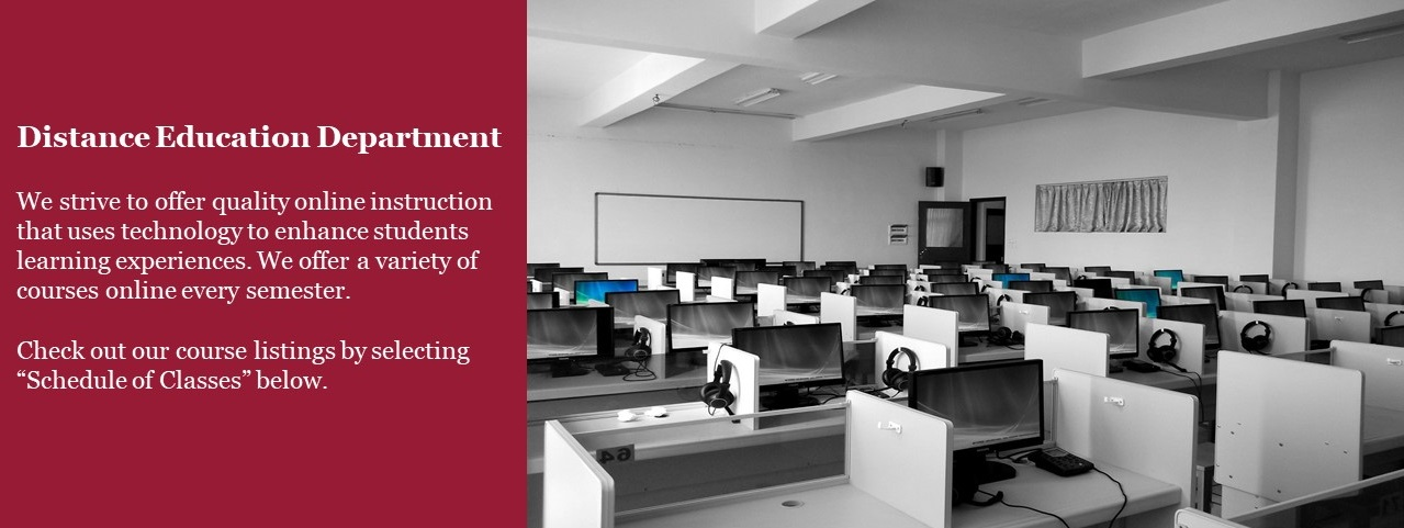 Statement on commitment to online education with photo of a computer lab.